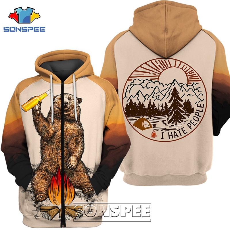 SONSPEE Animal Bear I Hate People Men's Zipper Hoodies Tracksuit Vintage 3D Print Casual Hip Hop Funny Coat Mens Sweatshirt Tops