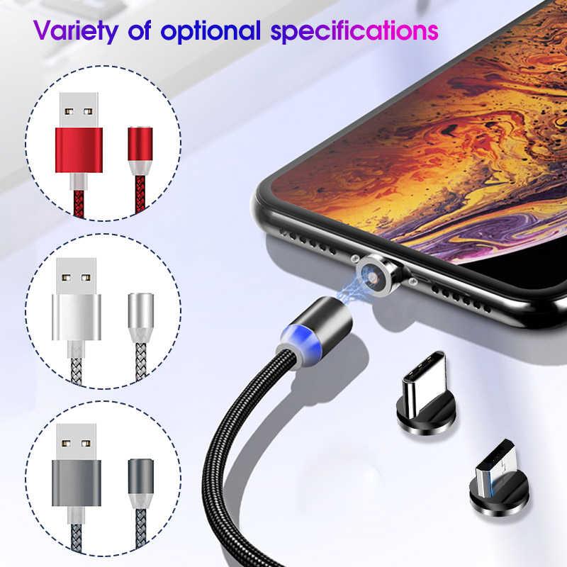 Magnetic USB Kabel/Mi Cro USB/Tipe-C untuk Samsung GALAXY Catatan 10 Magnet Charger untuk Xiao mi Mi 9 Mi 9se Mi A3 Usb C Kabel Ponsel
