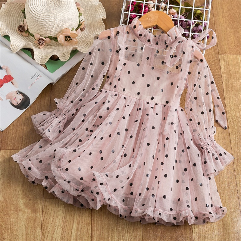 Lace Flower Girls Dress Princess Costume New Year Party Chidlren Clothing Spring Winter Long Sleeves Kids Dresses for Girls 3