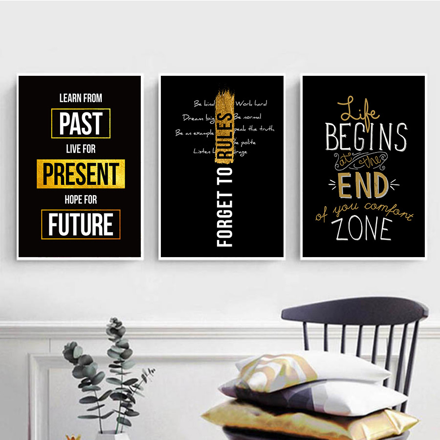 Office Decoration Inspirational Quotes Wall Pictures Decorative Painting Nordic Black Gold Poster and Prints Pop Art Home Decor image