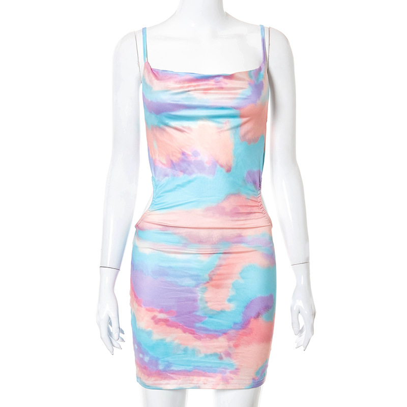 New Europe and the United States women's fashionable dye printing high waist low-cut dress sexy condole female 5