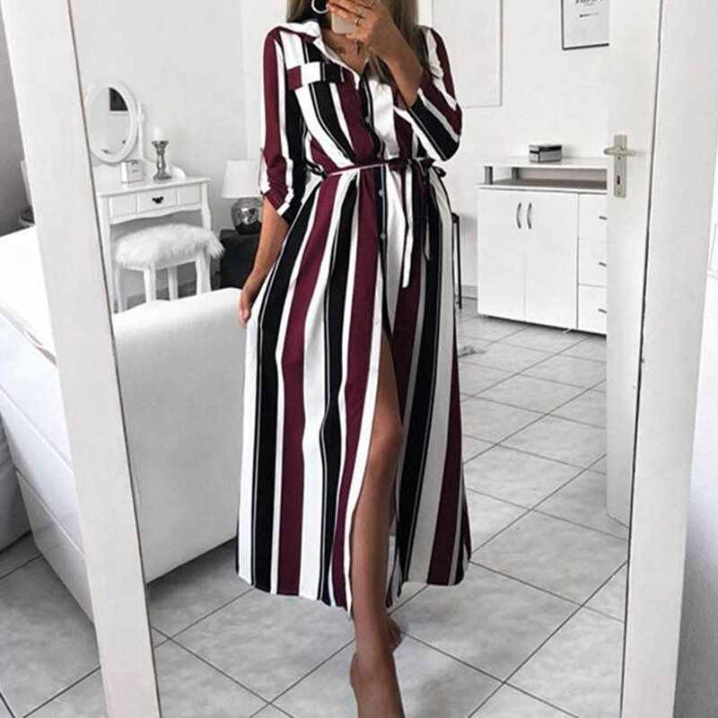 2019 Office Ladies OL Stripe Shirt Dress Fall Autumn Long Beach Dress Casual Long Sleeve Elegant Party Dress Female Vestidos