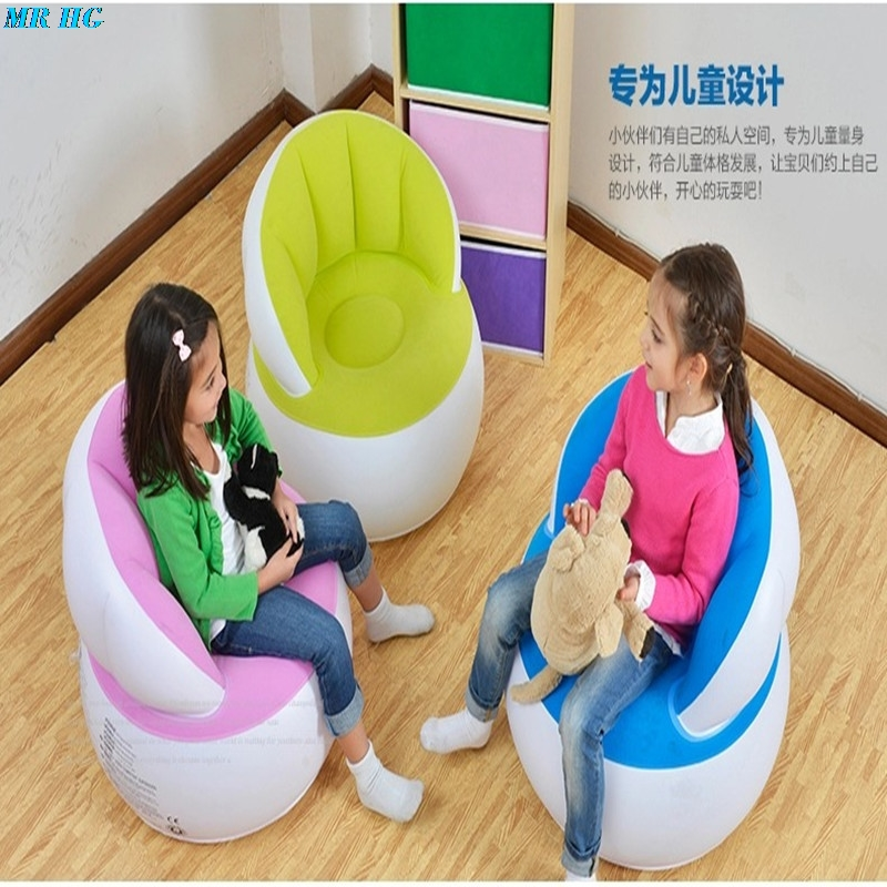 Flocking Inflatable Kids Sofa Portable Children Seats Dining Lunch Chair Pouf Feeding Chair Stretch Wrap Baby Sofa +Pump|Children Sofas| |  - title=