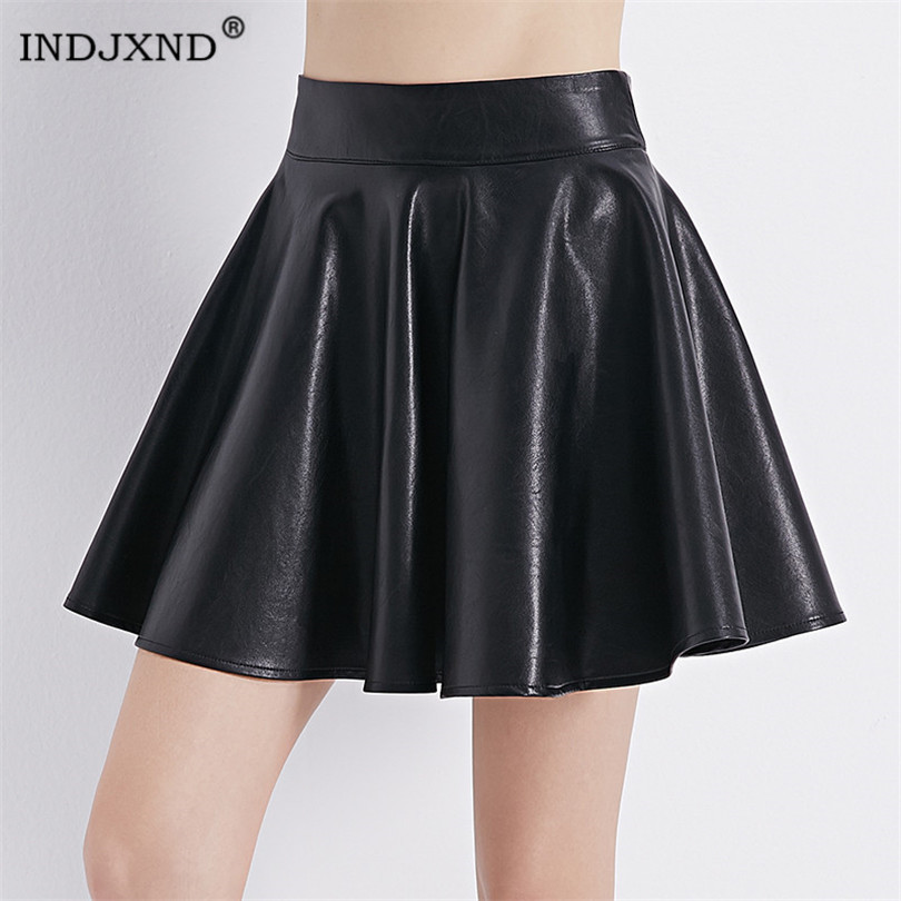 INDJXND Women New Elastic High Waist Faux Leather Flare Skirt Casual PU Mini Skirt Above Knee Solid Color Black Leather Skirt