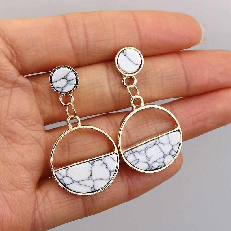 2019 New Fashion Stud Earrings For Women Black White Stone Geometric Drop Earrings Round Triangle Design Punk Ear Jewelry