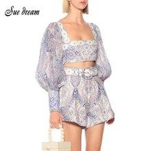 2020 Summer New Women'S Sexy Printed Lantern Sleeve Square Collar Short Top & Hi