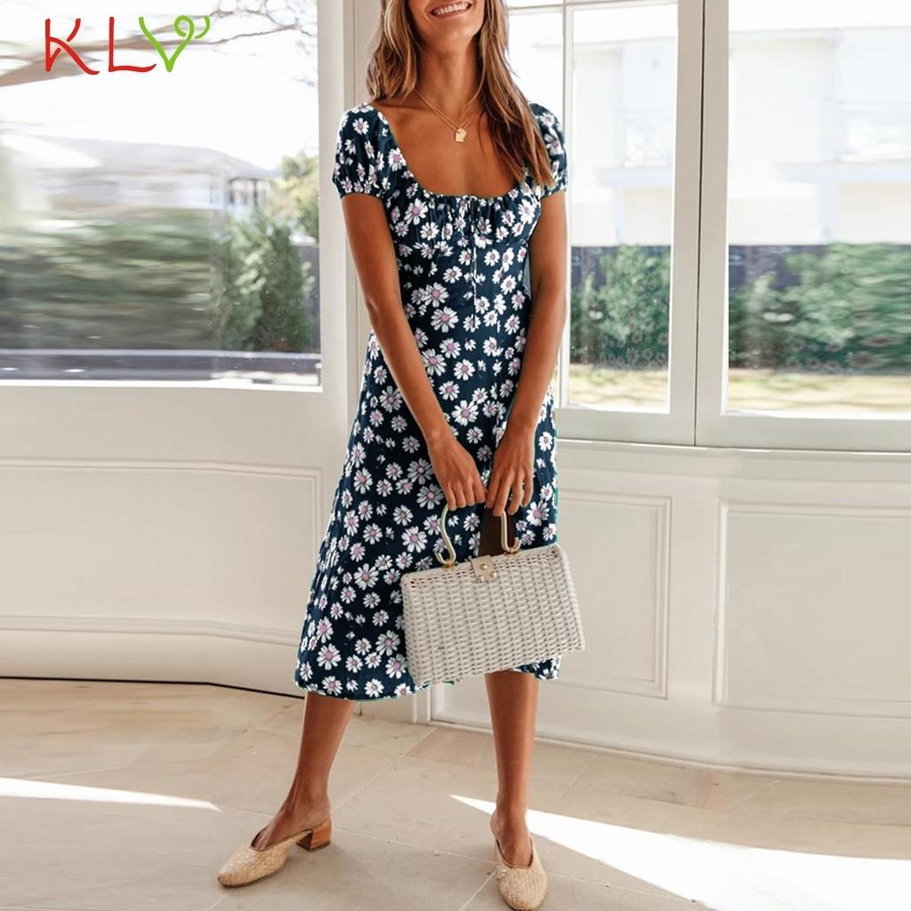 Women Polka Dot Frill Bodycon Dress Ladies Evening Party Summer Split Midi Dress