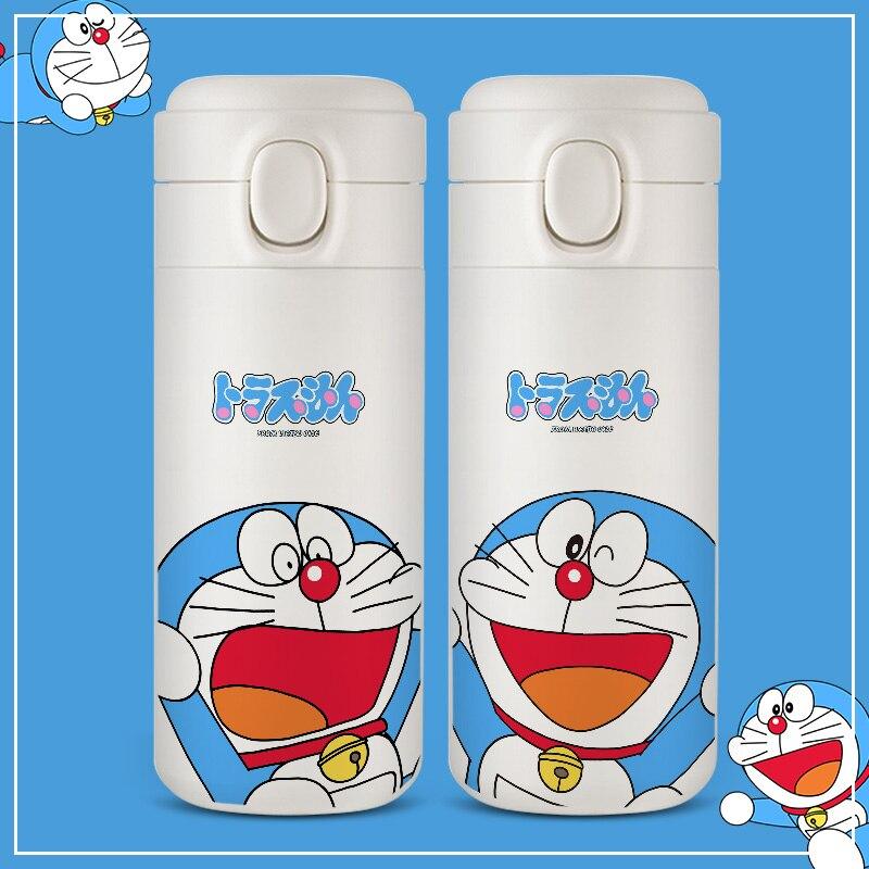 EWAYS – Thermos en acier inoxydable 304 pour enfants, design créatif, dessin animé Doraemon, couleur Pure, couverture automatique, tasses