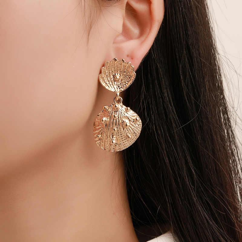 ยุโรปและอเมริกาใหม่ลมเย็นตัวอักษรโลหะเปลือกหูแหวนหญิงแฟชั่น TREND Sea WIND Beach เล็บหูหูจี้