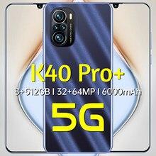 El nuevo K40 pro + 8 + 512GB 6,7-pulgadas Smartphone gota pantalla LTE 4G teléfono móvil 32MP apoya identificación facial de huellas dactilares de desbloqueo Android10