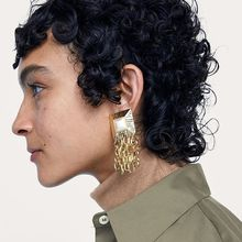 Exaggerated Metal Tassel Dangle Earrings Geometric Resin Earrings For Women Luxury Bohemia Big Ear Jewelry Gift france dyxytwe ladybug pink flower tassel luxury jewelry women gift enamel glaze jewelry