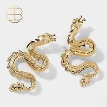 Grandes boucles d'oreilles Dragon pour femmes, marque de luxe, couleur or argent, grande boucle d'oreille de fête exagérée, boucle d'oreille Animal, 2020