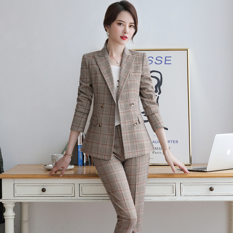 Female Elegant Plaid Formal Office Work Pant Suits 2 Pieces Set for Women's Suit Set Blazer and Trouser Pant Business Clothing