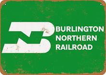 Anjoes 8x12 sinal de metal burlington northern railroad vintage decorativo estanho sinal