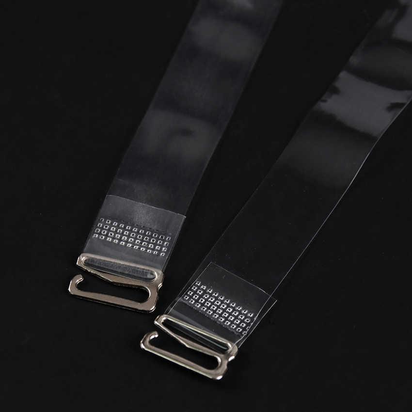 1 çift elastik sutyen Askısı Şeffaf Silikon Metal Toka Sutyen Omuz Askısı Ayarlanabilir Görünmez Intimates Aksesuarları