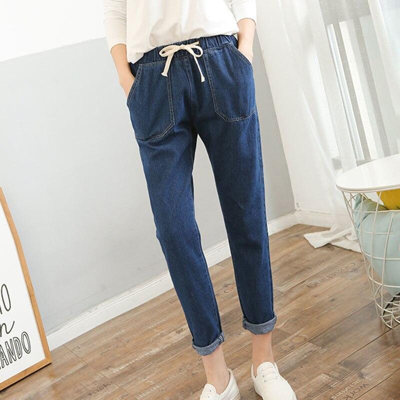 Jeans Woman Autumn High Elastic Waist Jeans Boyfriend Trousers Vintage Jeans Denim Korean Pencil Pants Plus Size Lace Up V767