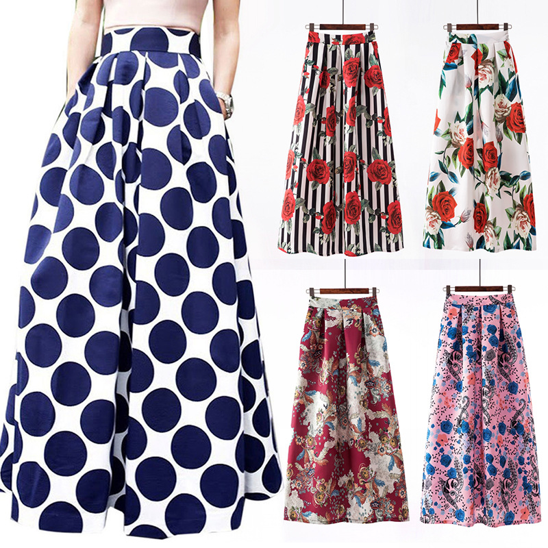 S-3xl Autumn Print Flora Maxi Skirt Women 2019 Spring Long Pleated Skirts For Women Plus Size Fashion Plus Size High Waist Skirt
