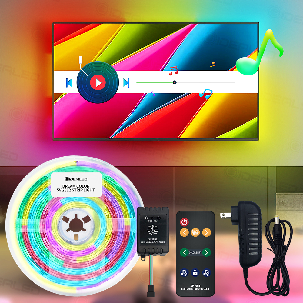 Sound Sensor RF Remote Led Strip Light 5v 150leds Color Changing Music Controller Usb For Tv Background Ribbon Ambient Light