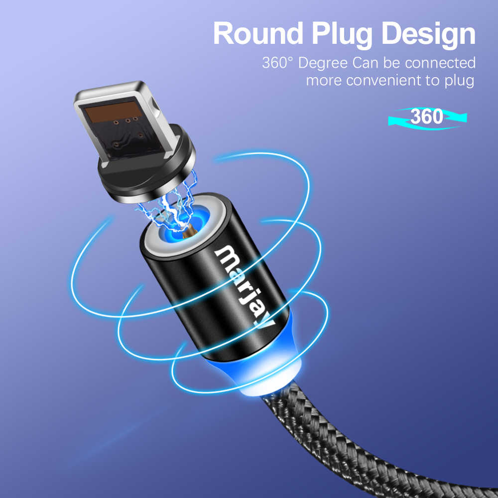 Marjay Magnetic Type C Cable for Samsung A50 Fast Charge Micro USB Cable for Xiaomi Huawei Magnet Charger USB Cord for iPhone 7
