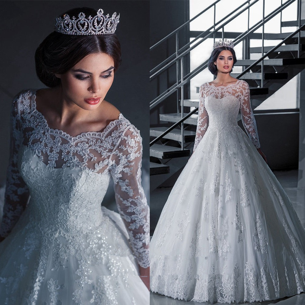 Princess Lace Long Sleeve Bridal Gown Scoop Gelinlik 2018 Brides Robe De Mariage Vestido De Noiva Mother Of The Bride Dresses