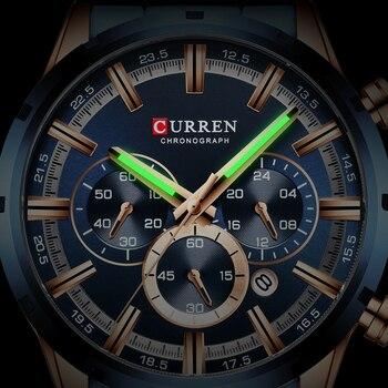 CURREN Men Watch Top Brand Luxury Sports Quartz Mens Watches Full Steel Waterproof Chronograph Wristwatch Men Relogio Masculino 5