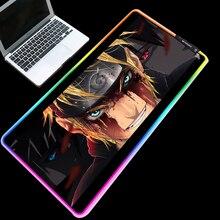 Yuzuoan xxl anime mouse pad naruto usb led cor iluminação travamento borda espessada rgb mouse pad controle de velocidade teclado gamer