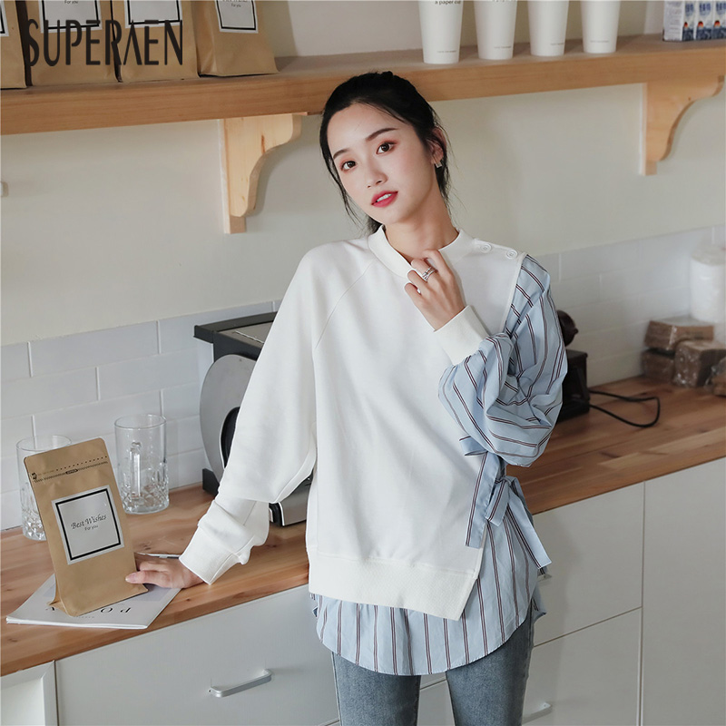 SuperAen Fashion Hoody Women's Long Sleeves Sweatshirts Cotton Wild Casual 2019 Autumn New Sweatshirts Striped Tops Female