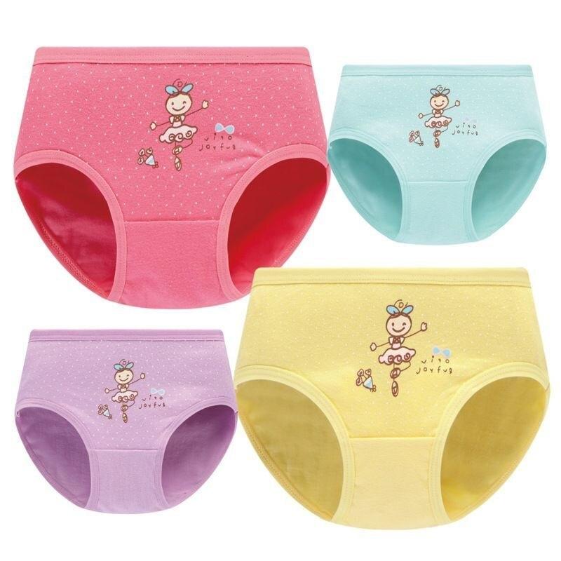4pcs/Lot Cartoon Panties Cotton Short Pants Girls' Underwear Suit 2-10Years 2