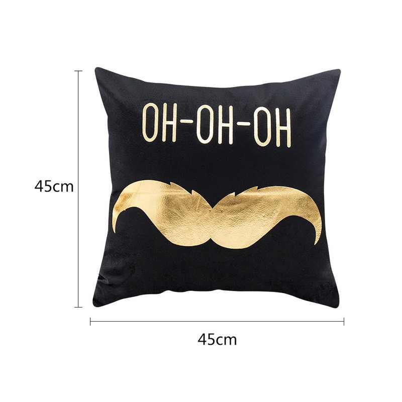 Bantal Penutup 45 Cm * 45 Cm Emas Linen Katun Lembut Bantal Penutup Sofa Sarung Bantal Selamat Natal Dekorasi untuk Rumah