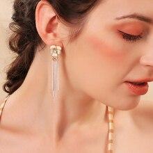 S925 Pure Silver Earrings Female Temperament Personality Long Flower Tassel Niche Design Sense