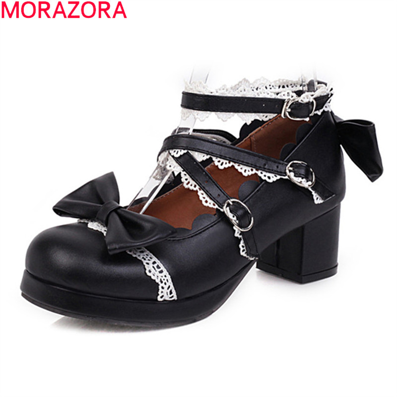 MORAZORA Big Size 34-48 Fashion Sweet Women Shoes Thick Heels Square Toe Buckle Women Pumps Summer Shallow Party Shoes