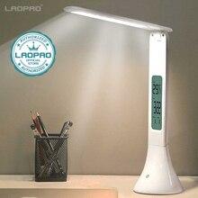 Lámpara LED de escritorio plegable Lámpara de Mesa táctil regulable con calendario alarma reloj lámpara de mesa luces de noche LAOPAO