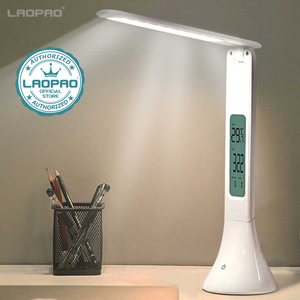 Image 1 - LED لمبة مكتب طوي عكس الضوء اللمس الجدول مصباح مع التقويم درجة الحرارة ساعة تنبيه مصباح الطاولة أضواء ليلية LAOPAO
