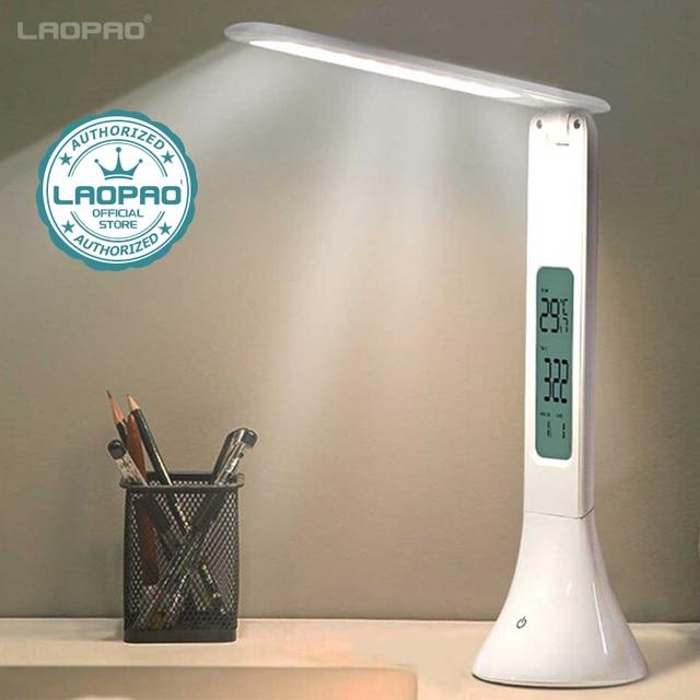 LED لمبة مكتب طوي عكس الضوء اللمس الجدول مصباح مع التقويم درجة الحرارة ساعة تنبيه مصباح الطاولة أضواء ليلية LAOPAO
