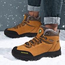 Зимняя обувь; Модная Теплая мужская обувь из материала на основе