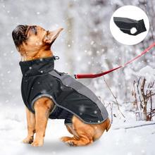 Kurtka dla zwierząt pies ubrania płaszcz odblaskowa wodoodporna kurtka zimowa ciepła kurtka kamizelka odzież dla szczeniąt dla małych średnich duże psy tanie tanio CN (pochodzenie) Poliester Jesień zima Stałe XS S M L XL Waterproof Reflective Warm Polyester + Cotton