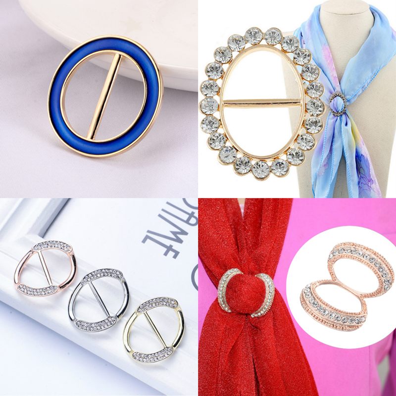 Fashion  Hollow Circle Rhinestone Brooch Shawl Clip Scarves Broche Circle Crystal Brooches For Women Gift Accessories Wholesale 6