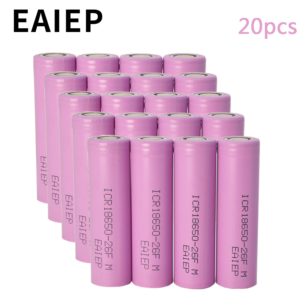 100% Original EAIEP 18650 Li Ion Rechargeable Battery 3.7v 2600mAh Batteries Batteria ICR18650 For Flashlight Toys Games Ktv Use