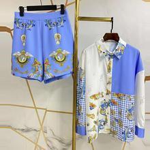 Blouse Suit Skirts Elegant Shorts Two-Pieces-Set Floral-Print Vintage Casual Fashion