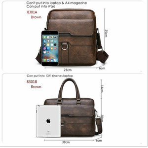 Image 4 - New Men Briefcase Bags Business Leather Bag Shoulder Messenger Bags Work Handbag 14 Inch Laptop Bag Bolso Hombre Bolsa Masculina