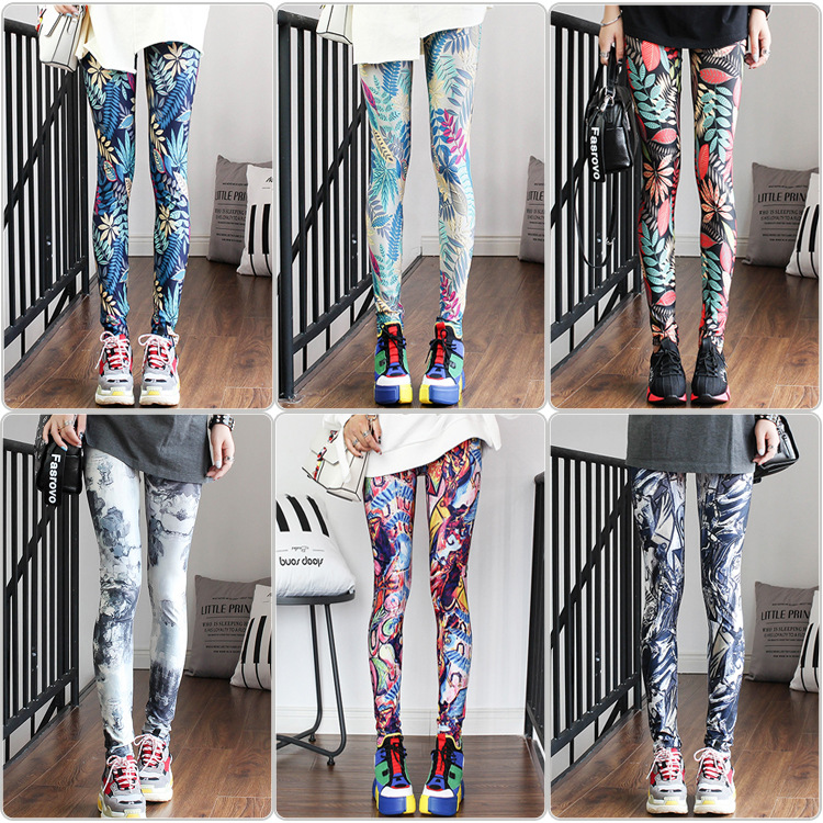 Fashion Womens Leggings Pants Rain Forest Holographic  Woman Clothes  High Waist Printed Leggings