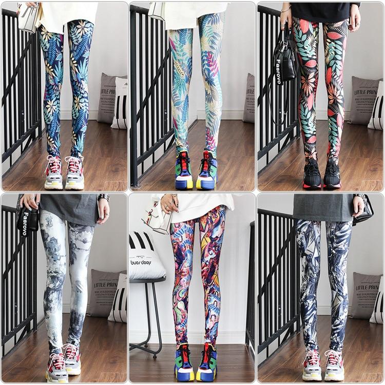 Fashion Womens Leggings Pants Rain Forest Holographic  Woman Clothes  High Waist Printed Leggings