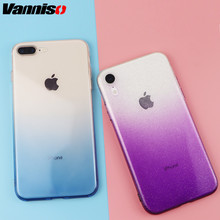 Vanniso Gradient Color Phone Case For iPhone X XS Max XR 7Plus Transparent Soft TPU Colorful Ultra Thin Cover For iphone 6s 7 8 rock ultra thin tpu soft case for iphone 7plus transparent black
