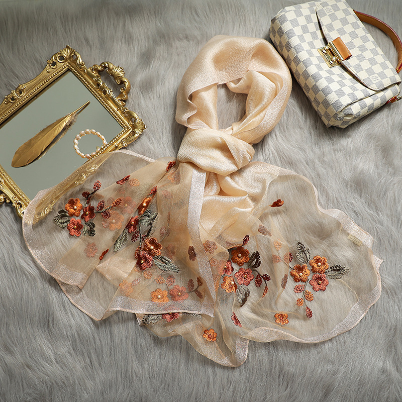 High Quality Silk Scarf Wool Pashmina Women Shawls Wraps Floral Embroidery Lady Winter Scarves Bandana Foulard Echarpe