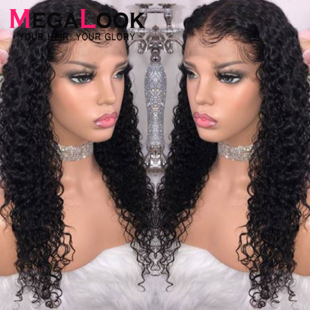Deep Wave Wig Pre Plucked Natural Hairline Human Hair Wigs Short Brazilian 13x4 180% Remy  Megalook Lace Front Human Hair Wigs