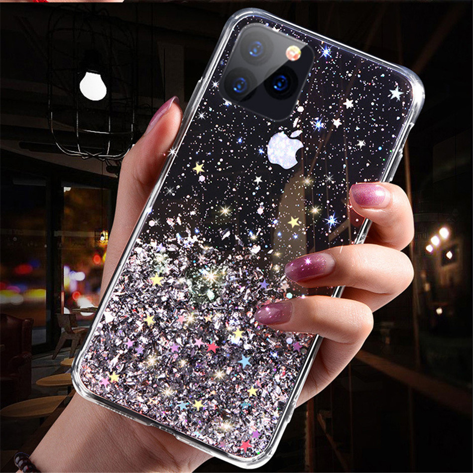H12599ab974884defb0f9f9f6dde10a08b - iPWSOO Glitter Foil Powder Case For iPhone 11 Pro XS Max XR X Bling Phone Case For iPhone 11 8 7 6 6s Plus Soft TPU Clear Cover