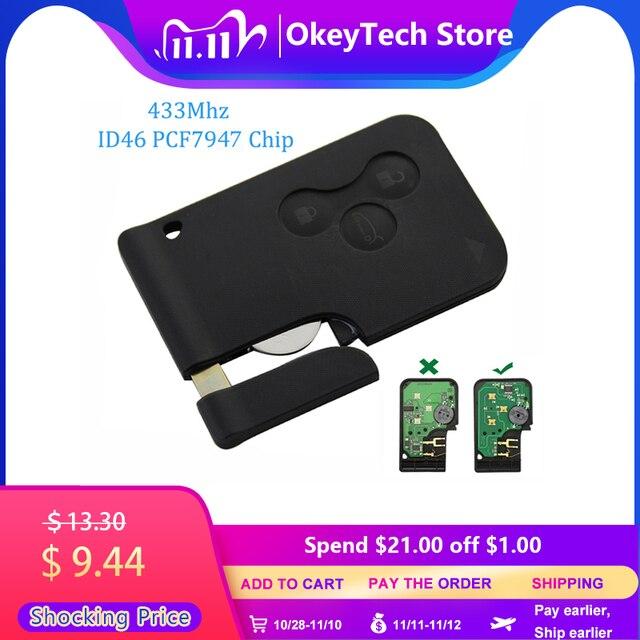 OkeyTech Chip con hoja de inserción de emergencia llave remota inteligente, 3 botones, 433Mhz, ID46, PCF7947, para Renault Megane Scenic 2009 2016