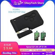 Okeytech 3 botão 433mhz id46 pcf7947, chip com chave remota inteligente de emergência, para renault megane scenic 2003 cartão de 2008