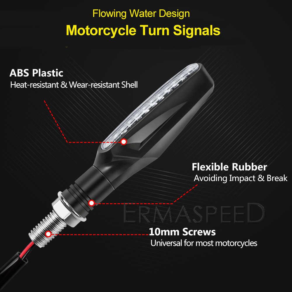 Motorfiets Richtingaanwijzer Motorbike Amber Indicator Lamp Sequentiële Blinker Led Flasher Voor Yamaha Mt 07 Mt 09 Dt 125