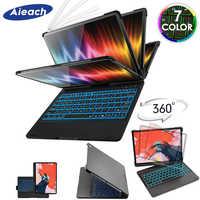 Funda para iPad Pro 11 10,5 9,7 7 Color retroiluminada 360 rotacio teclado inalámbrico Bluetooth para iPad 2018 2017 6th 5th Air 1 2 3